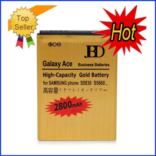 Freeshipping 2800mah High Capacity Gold Battery For Samsung Galaxy Ace S5830 Battery,100pcs(China (Mainland))