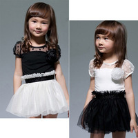 New Kids Toddlers Girls White Black Flower Princess Tutu Mini Dress 2 7yrs