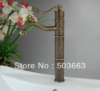 New Single Hole Top grade Bathroom&Kitchen Basin Faucet Antique Pattern Mixer Tap H-028 Mixer Tap Faucet