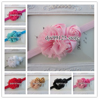 18pcs/lot baby headbands with 2.5&quot;Chiffon Shabby Flowers with Triple 4cm rose flowers TOP elastic headbands for baby
