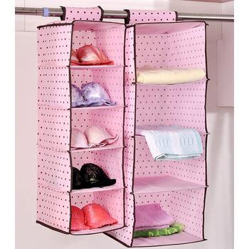 free shipping 1pcs Pink polka dot high quality non-woven storage bag hanging bag sn1349