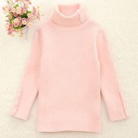 free shipping kids long sleeve sweater girls pullover pink solid turtleneck  100% cotton