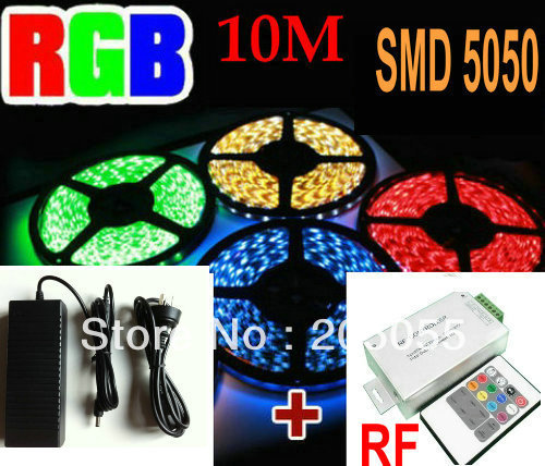 10M 5050 RGB SMD Flexible LED Lights Strip 60leds/M Waterproof IP65 2*5M +20 Key RF Remote Controller+POWER SUPPLY/ADAPTER(China (Mainland))
