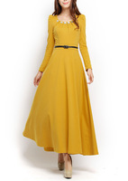 Free Shipping!! Smoke vintage royal princess long-sleeve sweet ultra long expansion bottom gem elegant one-piece dress
