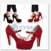2 Color Woman Vintage Stiletto Platform Pump Slim Buckle High Heel Shoes Fashion(China (Mainland))