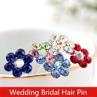 Fashion Bridal Hair Pins Crystal Flower Hair Sticks Wholesale Wedding Jewelry