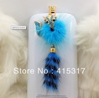 Free Shipping!Wholesale 20pcs/lot 3D Diamond mink fox dust plug ,headphone jack dust cover for iPhone 3G 4 4S 5