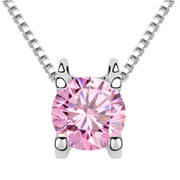 18K White Gold Plated Clover Women Zircon Jewelry Fashio Love Pendant Necklace( Pink White Green)