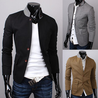 2013 men's clothing vska unique stand collar button male slim suit male casual blazer free shipping