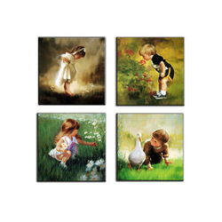free shipping 30cm*30cm Oil painting decorative painting artificial oil painting gold childhood 4 child real(China (Mainland))