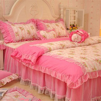 girl's princess dream pink bedding set 100% cotton with lace comforter sets flat skirts