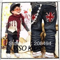 free shipping,5pcs/lot Classical m word pocket old mill children&#39;s jeans.children&#39;s trousers &amp; pants