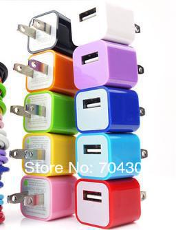 EU and US COLOR USB POWER ADAPTER AC MINI WALL CHARGER for IPHONE 5 4S 4 3GS 3G IPOD TOUCH