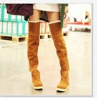 New Women's Suede Flat Boots Winter Thigh High Boots /Over The Knee Boots Shoes 4 color