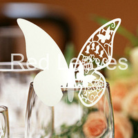 Hot Sell EC1108-0812pcs/pack Laser cutting Butterfly Place Card on Glass(white or ivory)