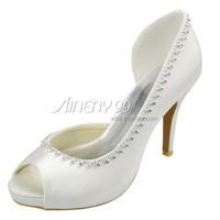 Aineny99 Ivory Bow Peep Toe Beading Pumps Inside Platform High Heels Satin Wedding Bridal Evening Party Shoes Free Shipping L153