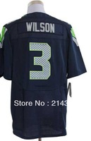 Free shipping - 3  Russell Wilson  Men's Authentic  Blue  Elite  Football  Jersey  size: 40-56