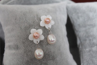 Pearl By Orbicular Shell flower 9 10mm meters freshwater pearl stud earring shell earring gift