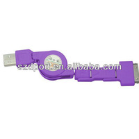 Free Shipping 100 pcs\lot Colorful  Multi-functional 3 in 1 USB Data Cable