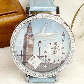 Fashion mini watch Polymer Clay waterproof women's table navy blue rhinestone sheet travel London style hot-selling
