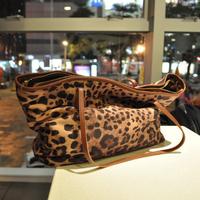 casual vintage cowhide leopard print bag genuine leather bag,cheap shoulder bag