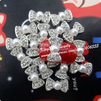 Стразы для ногтей rh237 August NEW 30pcs 3D ALLOY nail art decoration gold plated clear rhinestone 3d metal nail bow