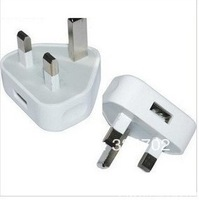 Wholesale 100pcs UK Mains USB Charger Adapter Wall Plug FOR TOUCH IPOD APPLE IPHONE 4G 4S 3GS 5G Free Shipping By DHL