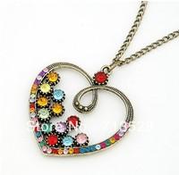 Retro color drilling big peach heart long necklace sweater chain