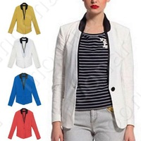 Free shipping! 2013 autumn new women fashion high quality 2 colorS casual one button blazer slim lady's suits jackets E0864