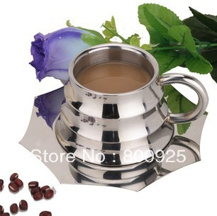 6pcs Stainless steel milk mug-water cup-coffee cup-milk mug-180ml milk jug(China (Mainland))