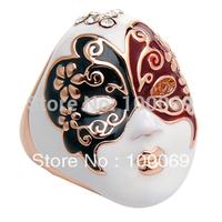 Min.order is $15 (mix order) Secret Party Mask Ring Colorful Enamel  Peking Opera Ring R1669