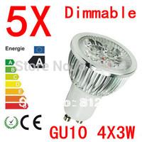 5X  High power CREE GU10 4x3W 12W 85-265V Dimmable Light lamp Bulb LED Downlight Led Bulb Warm/Pure/Cool White