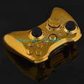 Polished Chrome Gold Replacement Shell For Xbox 360 Wireless Controller With Chrome Gold Inserts + Free Shipping(China (Mainland))