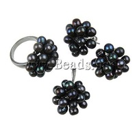 FREE SHIPPING Promotion Wholesale Black  Natural Freshwater Pearl Earrings Pendant  Ring Vintage Fashion Lady Jewelry Set