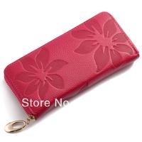 Wallet wholesale! Best designed  Flower shape Women Lady zipper Genuine Leather Fashion Style Multi color Wallet