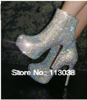 Bling bling full silver crystal wedding shoes short boot ankle pumps 2014 free shipping