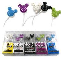 Free shipping New Inner Ear Earphone  colourful Mickey Headphone for MP3/MP4 player PC Earphone