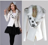 Free Shipping 2013 women's fashion fur collar slim woolen outerwear, Short Ladies Winter Coat