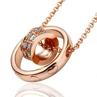 Copper Alloy 18K Rose Gold Plated Crystal Pendant Necklace Chain Jewelry 46cm long,Pendant Size:24x24cm