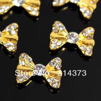 100pcs/Lot  3D Bling Charm Golden Color Bow Tie Alloy Clear Rhinestones Nail Art Salon Tips Beauty Design DIY Decorations
