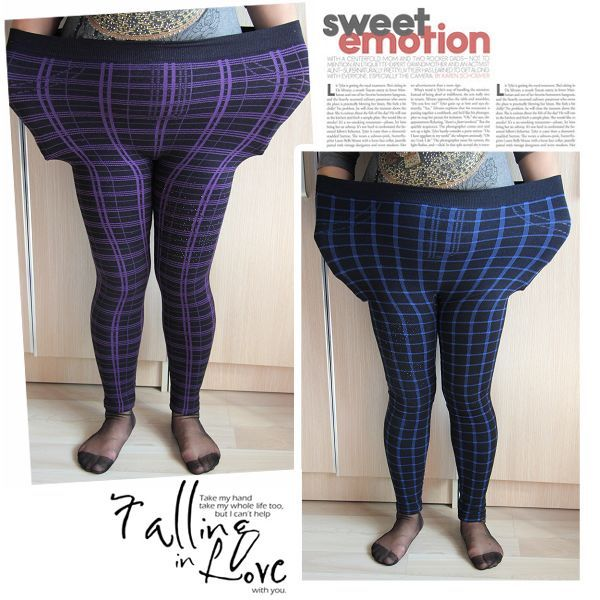 Images of Plus Size Plaid Leggings - Reikian