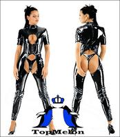 Мужской эротический костюм Men's leather underwear vest-piece shorts sexy open crotch tight leather retail Mp02