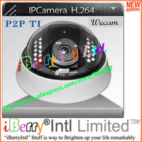 TI Solution P2P H.264 IR IR-CUT Dome IP Camera (Indoor) with Micro-TF Card Slot Support 32GB Max