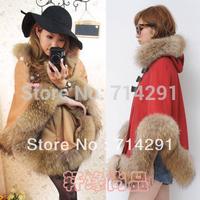 2014 autumn and winter women luxurious fur collar cloak wool coat loose plus size woolen outerwear cape