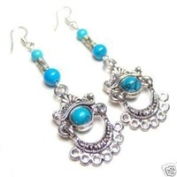 Charming Asian Fancy Tibet silver Turquoise Earrings
