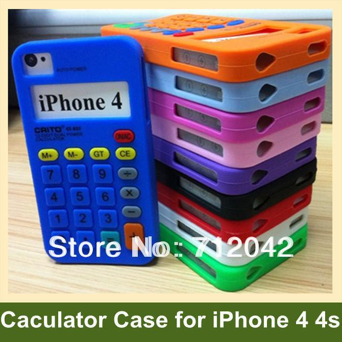Fashion 3D Caculator Pattern Case for iPhone 4 4s Soft Silicone Cover Case for iPhone 4 4s 10pcs/lot Free Shipping(China (Mainland))