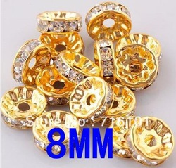 500PCS 8MM Color Gold+Clear Rondelle Pave Rhinestone crystal Spacer beads for DIY Basketball wives Jewelry!(China (Mainland))