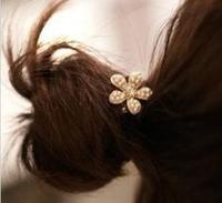 Free Shipping Fashion Korean Gold Pearl Daisy Rose Flower Heart Elastic Hair Bands A7R11 (minimal Mixed styles $5)