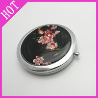 2012 hot selling Free shipping(5pieces/lot) cosmetic pink beauty bird mirror 3 flower mirrors metal wholesale LF-MP-0039A