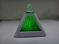 colourful changed Triangle Pyramid music Digital LED Alarm Clock Thermometer + Calendar LED Magic table desk mini clock  #0006
